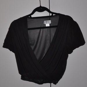 Nightcap Clothing low cut crop top// Black